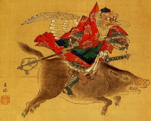 Crow Tengu Riding Boar (Karasu Tengu 烏天狗騎猪)
